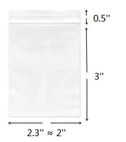2 Mil Zipper Reclosable Plastic Bags 1.75 x 1.75 Pack of 100