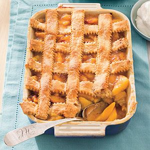 Peach Cobbler--- This recipe is a favorite at our house during the summer.  Southern Living recipe- June 2010