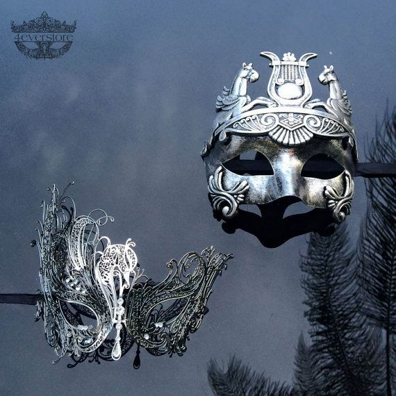 His & Hers Couples Masquerade Mask, Silver Filigree Metal Masquerade Masks for Couples, Masquerade Masks - Mardi Gras Masks