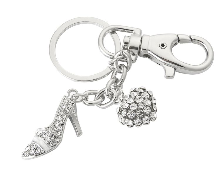 Stiletto & Heart Bag Charm/Keyring £13.00 Simply clip onto the handle or zip of any bag for an instant makeover. Studded glass stones. Features clasp and keying attachment. Size L12 x W6cm