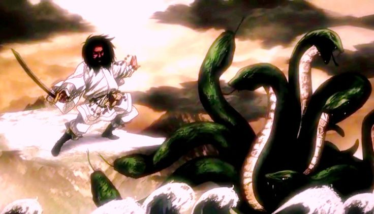 Deus Susanoo contra Yamata-no-orochi, a serpente de oito cabeças – Mundo-Nipo