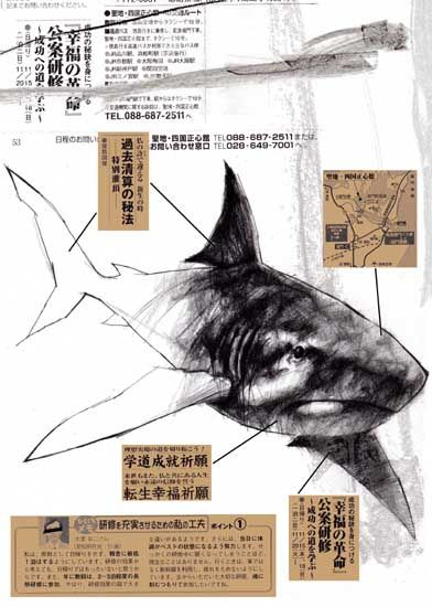 shark sketch and collaged drawing