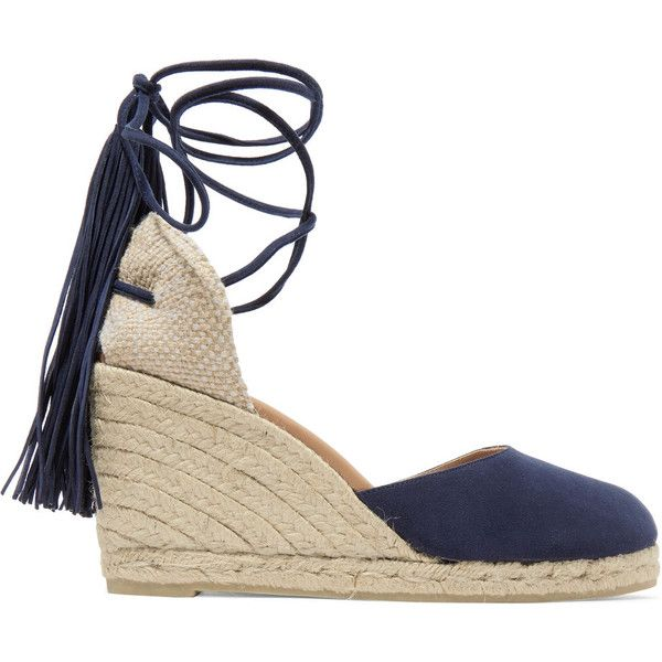 Castañer Carina fringed suede wedge espadrilles ($190) ❤ liked on Polyvore featuring shoes, sandals, espadrilles, wedges, wedge espadrilles, navy wedge shoes, espadrille sandals, fringe wedge sandals and wedge heel sandals