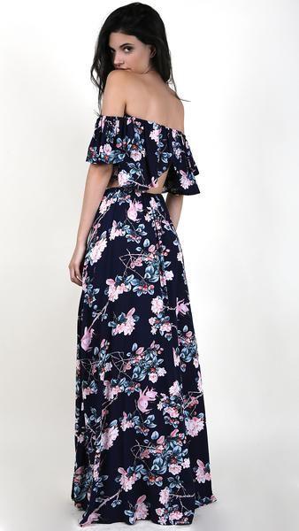 9fec2e755856 Floral Off Shoulder Crop Top With Maxi Skirt Set