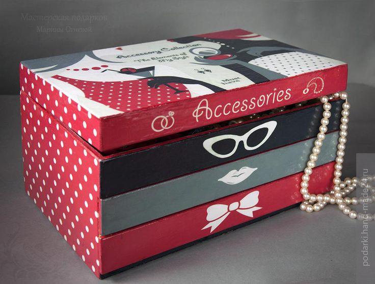 Модный мини-комод для хранения аксессуаров, декупаж, портал Hand-Made24.ru