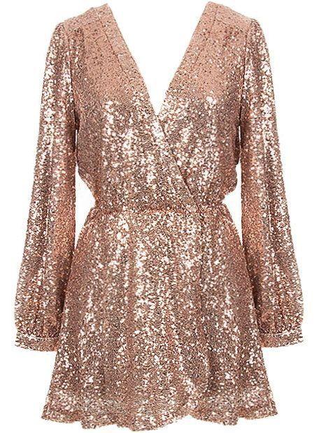 Rose gold sequin wrap dress #swoonboutique