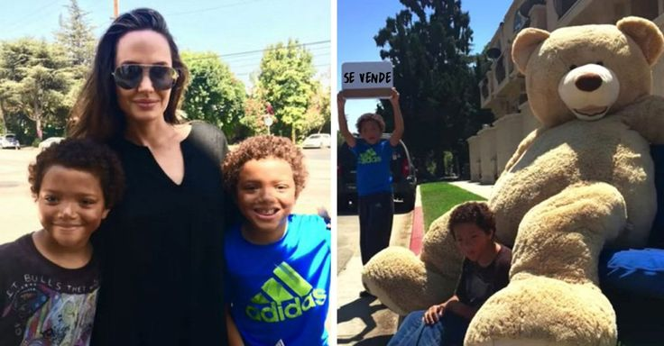 Estos dos pequeños hermanos vendían un oso de peluche gigante en la calle, de pronto un auto llegó y su compradora fue Angelina Jolie y su hijo Shiloh