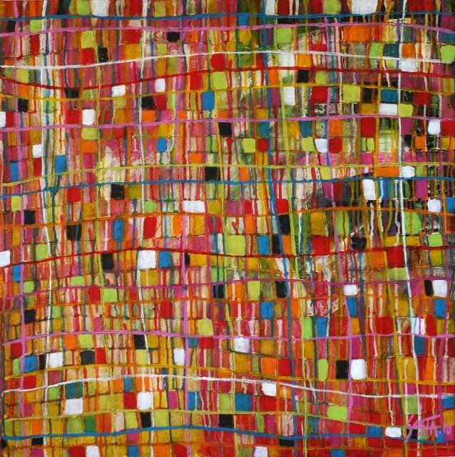 by Sophie Costa :   Tableau abstrait entièrement recouvert d'enduit texturé.  Le quadrillage est recouvert d'aplat de couleurs et ensuite de multiples coulures de peinture acrylique.  C'est un tableau frais et coloré.