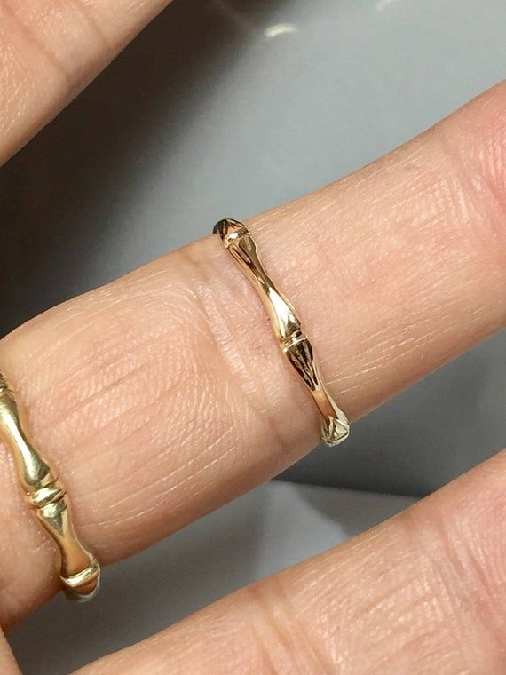 Wedding Ring Tiny Gold  Ring Minimalist Ring Gemstone Stacking Ring 14K Gold Ring Sackable Ring Dainty Bamboo Stacking Ring