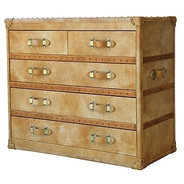Large Camel Leather Chest of Drawers 5 Drawers with Individual Leather Pulls and Nailhead Banding Along Frame and Top