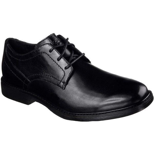 Skechers Men's Malling Black - Skechers ($85) ❤ liked on Polyvore featuring men's fashion, men's shoes, black, mens lace up shoes, mens black shoes, mens black oxford shoes, skechers mens shoes and mens oxford shoes
