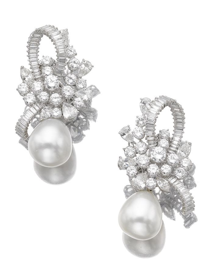 Pair of cultured pearl and diamond ear clips | lot | Sotheby's