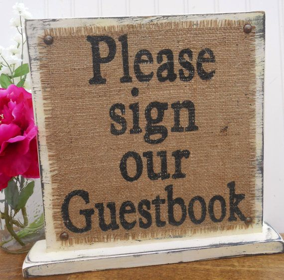 Please sign our Guestbook, wedding sign guest book table decor, standing burlap and vintage look wood via Etsy