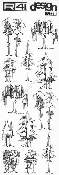 trasferibilir41 alberi in alzato nero trasferelli trasferibili r41 in fogli 9x25cm p landscape sketchdrawing treesarchitectural - Architecture Drawing Of Trees