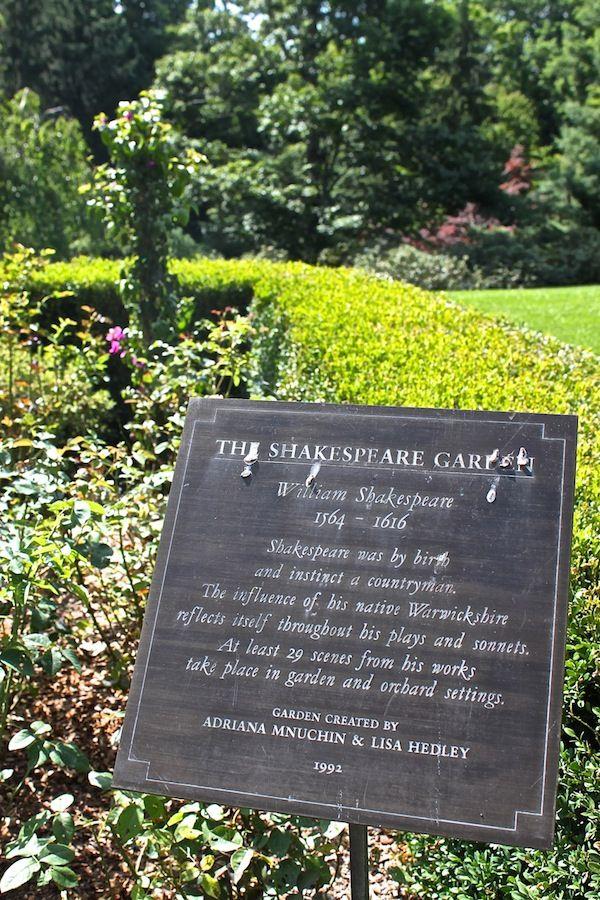 The Shakespeare Garden plaque