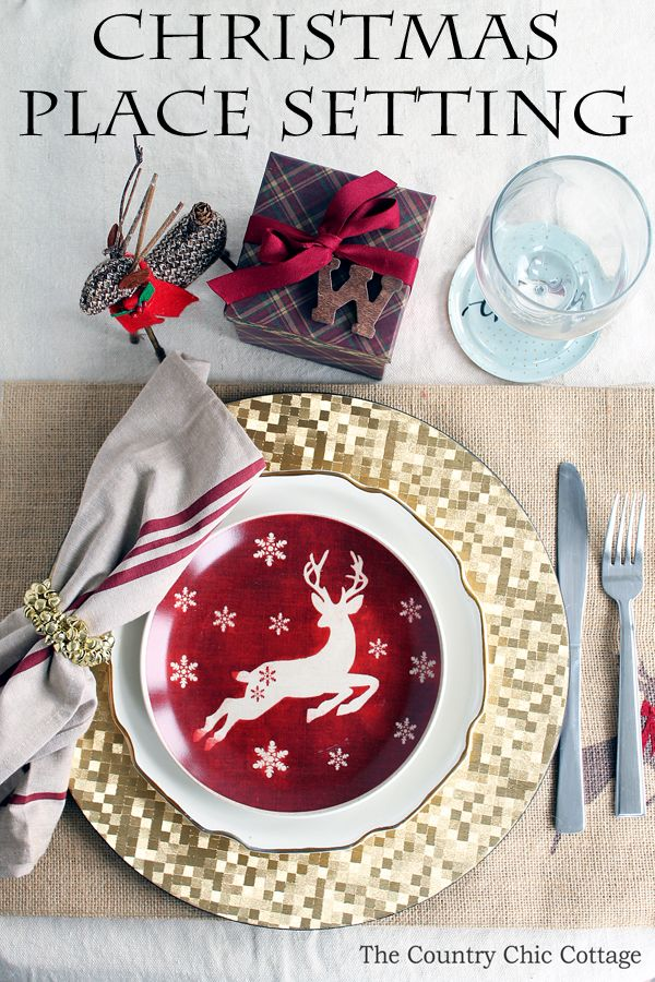 A gorgeous Christmas place setting for your holiday meal. Get everything you need with one stop at the store! #ad #AtHomeforChristmas #AtHomeFinds