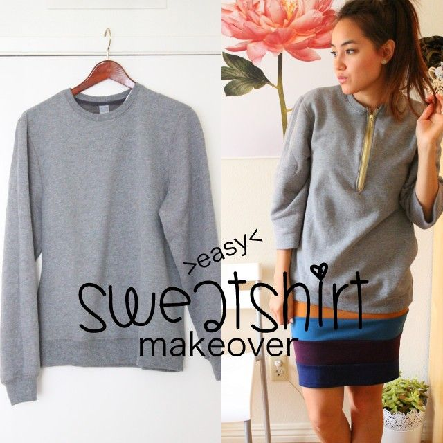 sweatshirt sewing makeover | Sweatshirt Makeover + How to Install a Zipper