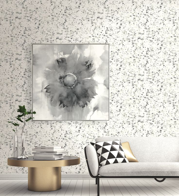 Grey Spotted Watercolor wallpaper and Floral Canvas Art create the perfect Scandinavian setting. From Wallquest's L'Atelier de Paris Collection.