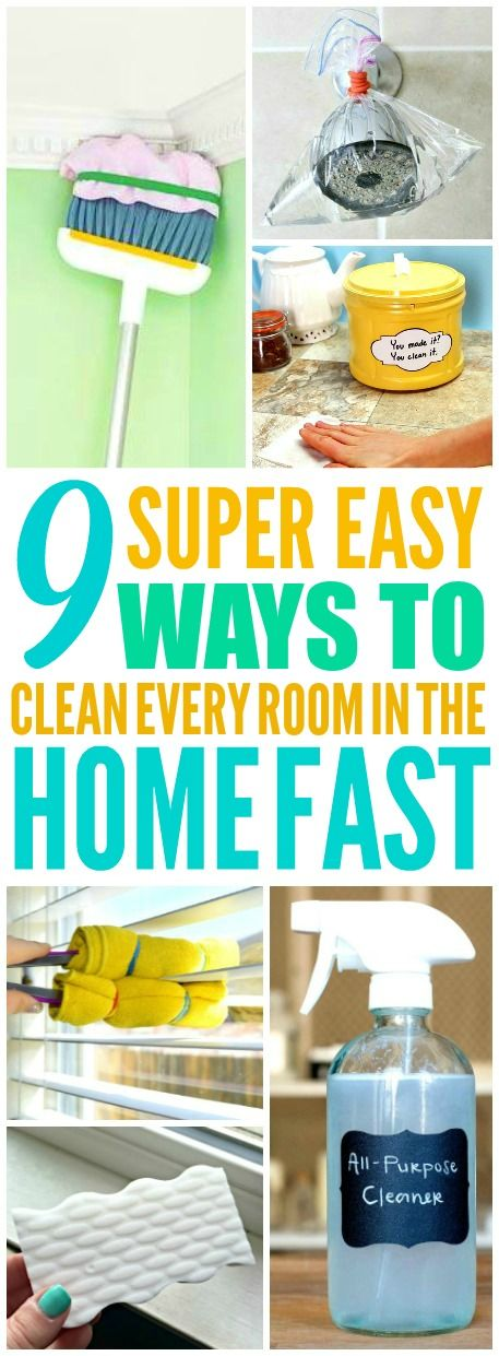These 9 genius ways to clean every room in the home fast are THE BEST! I'm so happy I found these AMAZING tips! Now I have great cleaning hacks for my house! Definitely pinning!