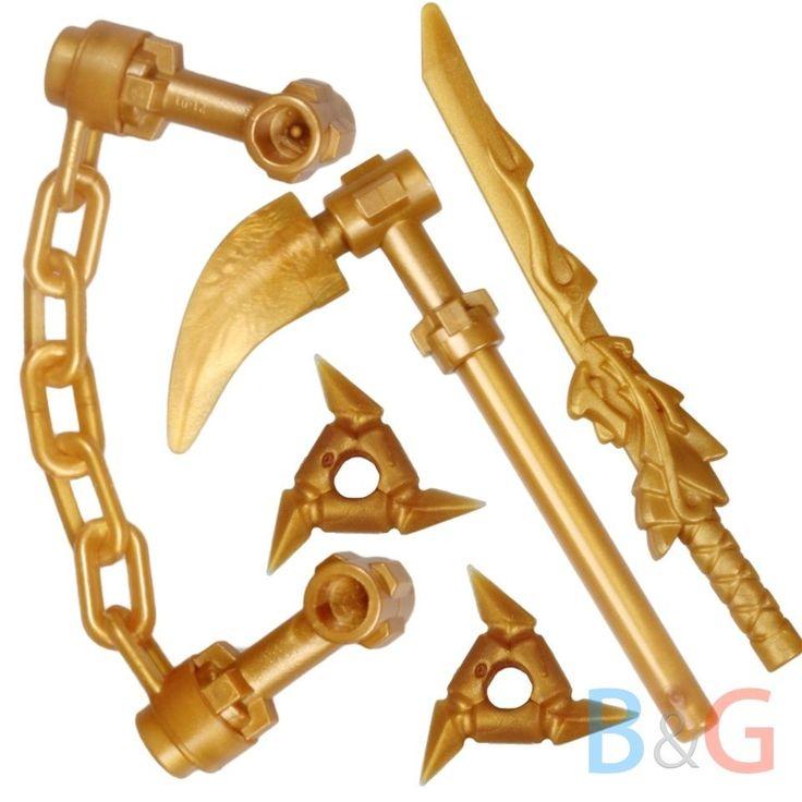 LEGO Ninjago Ninja Set of 4 Golden Minifigure Weapons of Spinjitzu 9449 9450 #LEGO