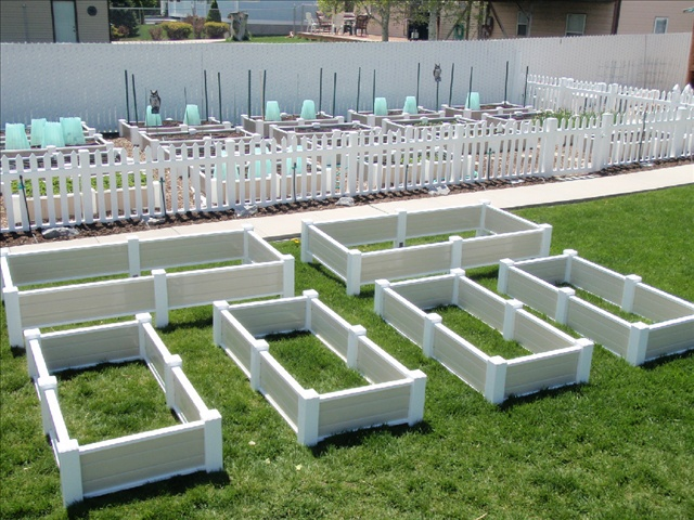 Raised beds for gardens....VINYL!!!  Prices rock since it is a one time expense!  (Did I already say VINYL?!)  Get them before they up the price!!!: Gardens Beds Just, Chicken Salad, Price Rocks, Raised Beds, Rai Gardens, Raised Gardens Beds, Wood Beds, Gardens Vinyls, Rai Beds