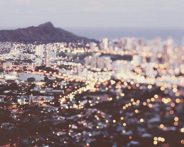 Honolulu Skyline at Night, Hawaii Print, Urban Photography, Pastel Wall Decor, Bokeh Lights, Volcano, Purple - Sparkling Diamond by EyePoetryPhotography on Etsy https://www.etsy.com/listing/194539463/honolulu-skyline-at-night-hawaii-print