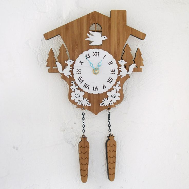 #scandinavian #swedish #folk #style #children's #cuckoo #clock in #wood & #white www.bluebirdandhoney.com
