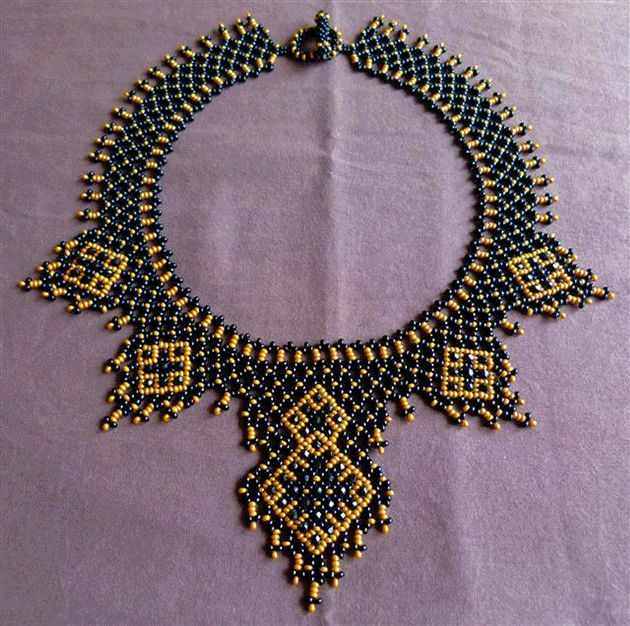 netted bead woven necklace