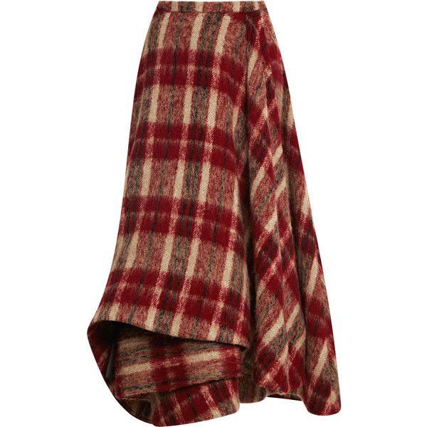 Brock Sircle Skirt ($1,990) ❤ liked on Polyvore featuring skirts, bottoms, red plaid, red skirt, straight skirt, red knee length skirt, tartan skirt and red tartan plaid skirt