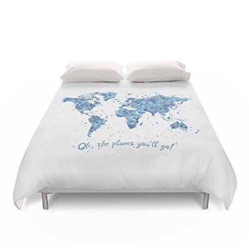society6 world map duvet covers queen 88u0027 x
