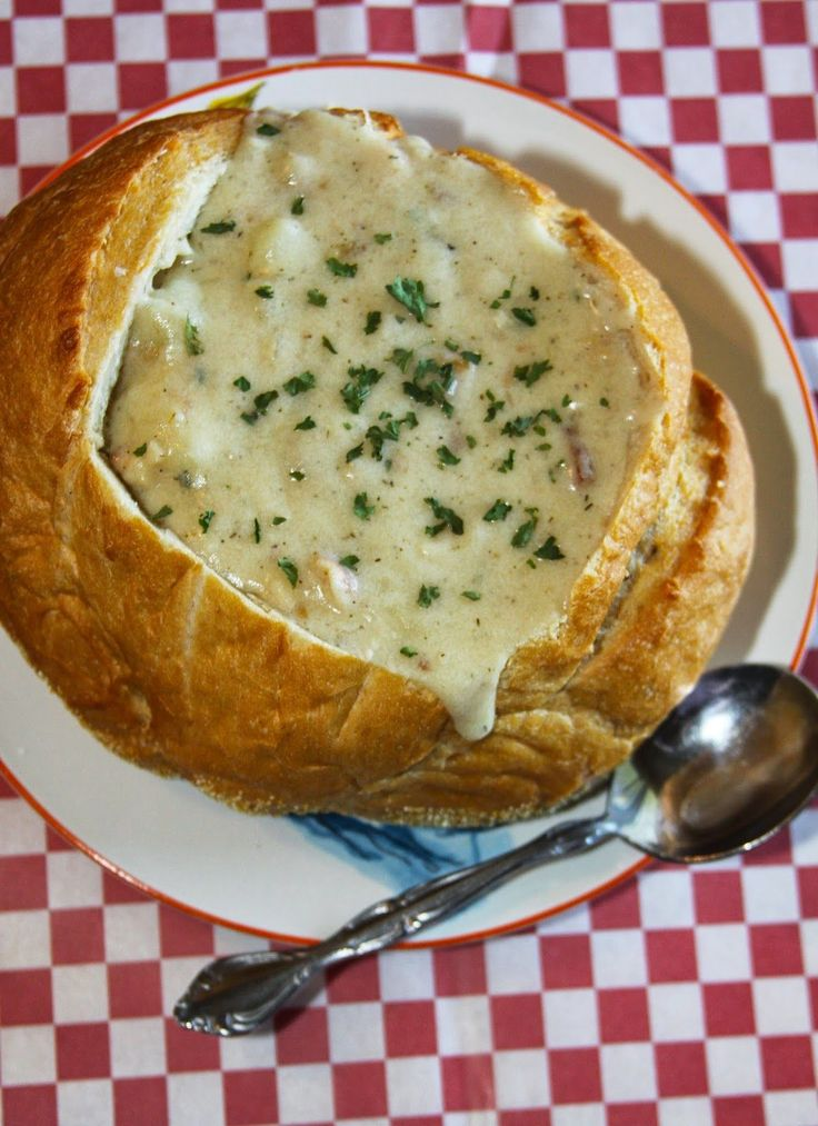 Guy Fieri's Chunky New England Clam Chowder ~ just serve in your homemade bread bowl!