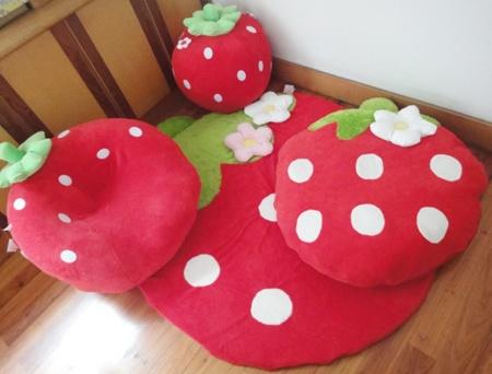 Japan and South Korea lovely super comfortable scarlet strawberries lazy sofa children sofa carpet washable kindergarten procurement - Taobao