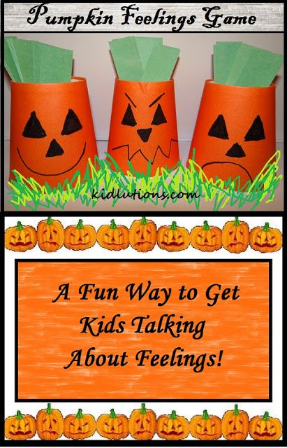 """Pumpkin Feelings Game: A fun way to get kids talking about feelings. Adapt to use this with the Alert Program. (fast, slow, and """"just right"""" faces and colors)"""