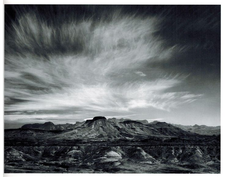 Burro Mesa and Chisos Mountains, Big Bend National Park, Texas  (photo by Ansel Adams, 1942)