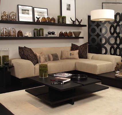 Kelly Hoppen interior design  I really love the shelves on the wall ... hmmm