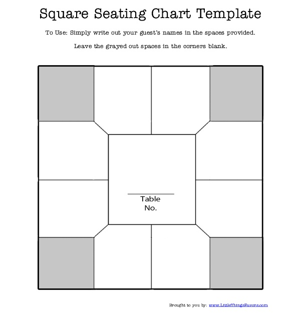Free printable square table seating chart template for for Free printable wedding seating chart template