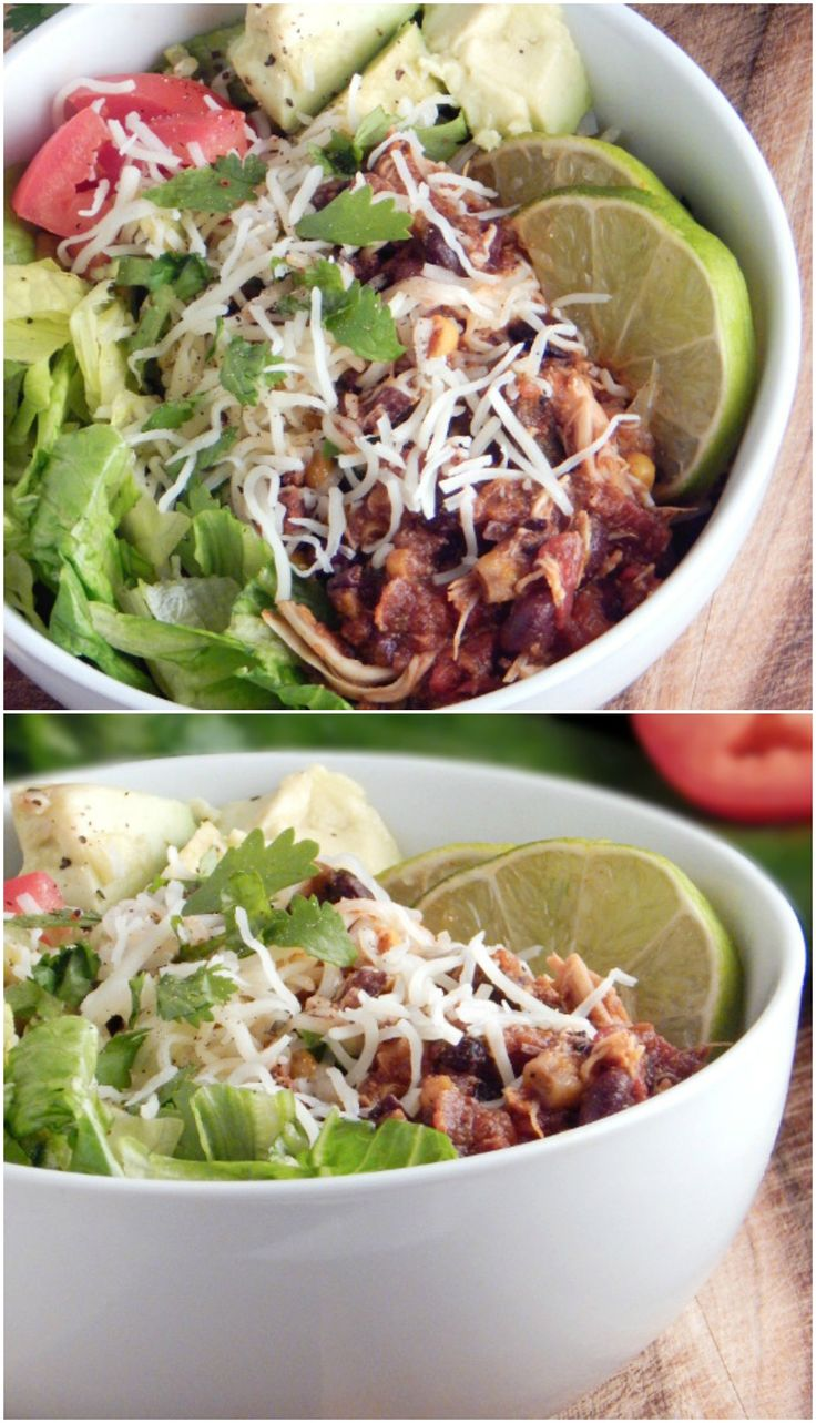 Clean Eating Slow Cooker Burrito Bowl. Toss everything in the crock pot this morning and dinner is a snap when you get home.Vegan options as well!