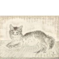 Léonard Tsuguharu Foujita. Chat gris (Chat souriant), 1939