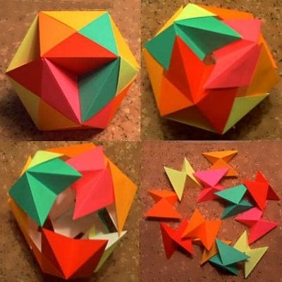 Exploding butterfly 'bomb' ball origami, or cubohemioctahedron! :-p Follow the links for ...