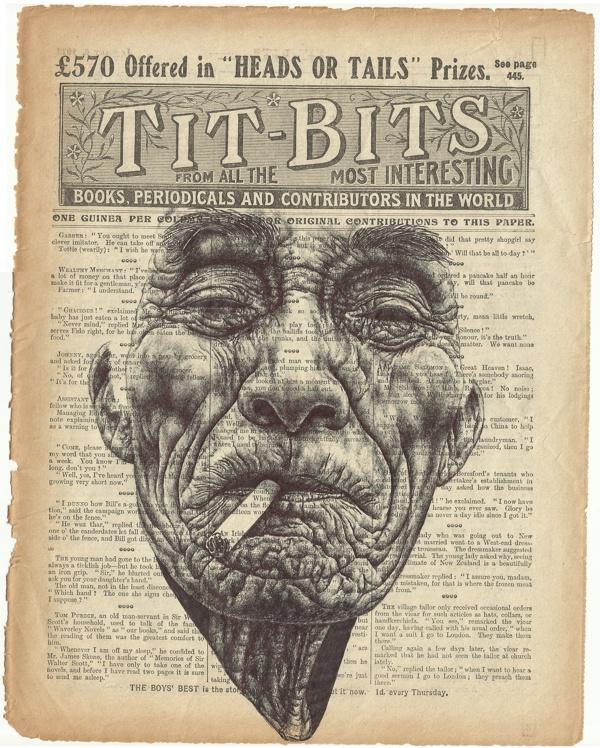 short days Bic biro drawing on antique newspaper. by mark powell, via Behance