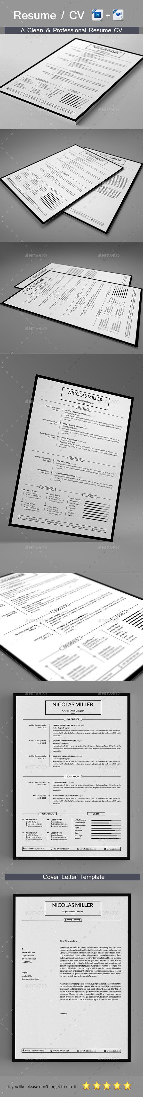 Clean #Resume #Template PSD, MS Word. Download here: