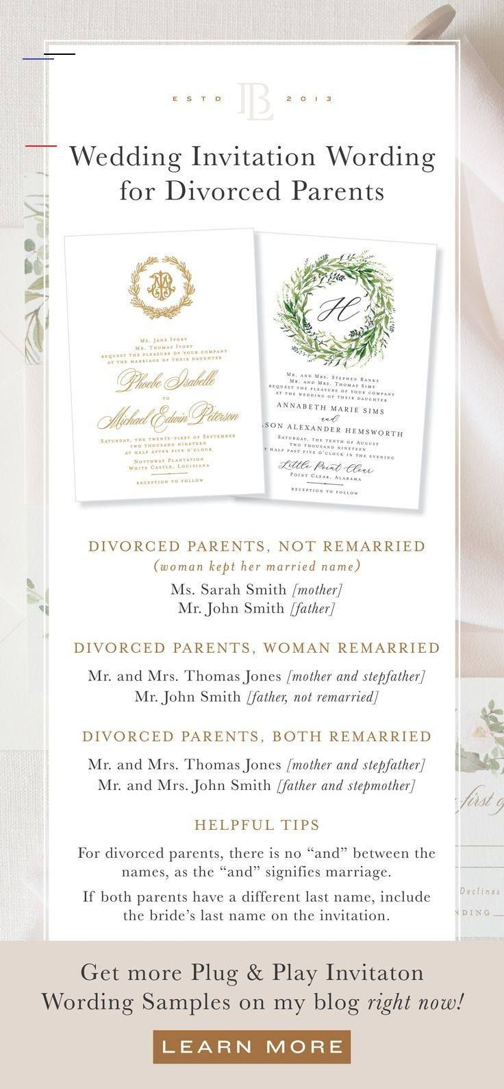 Wedding Invitation Wording Examples For No Children Divorced Parents An In 2020 Wedding Invitation Wording Formal Formal Invitation Wording Trendy Wedding Invitations