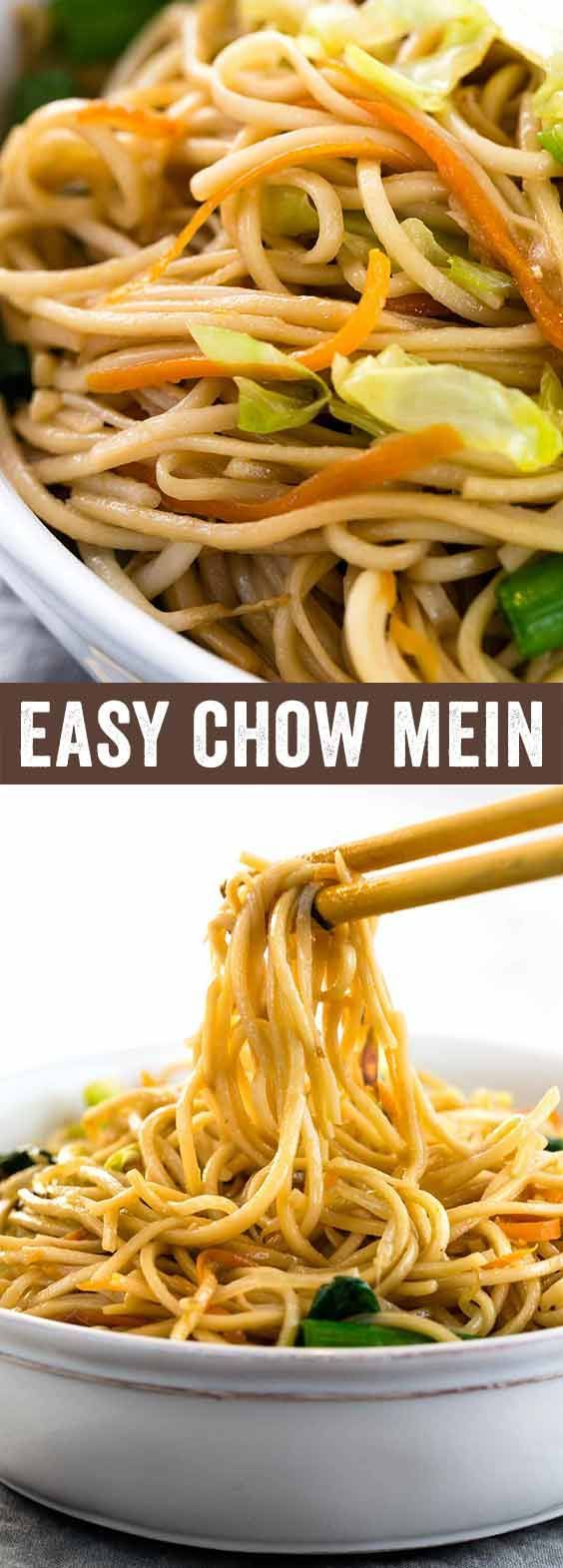 Chinese chow mein noodles tossed in an authentic savory sauce. The noodles are stir-fried with cabbage, carrots, bean sprouts, green onions, ginger and garlic for a flavorful vegetarian dish. A recipe ready in less than 30 minutes or less! via @foodiegavin