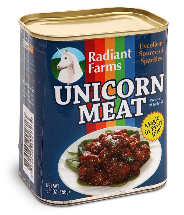 "ThinkGeek :: Canned Unicorn Meat -- because I'm a paralegal and the cease and desist letter ThinkGeek received regarding their unauthorized use of the slogan ""The Other White Meat"" was HI-LARIOUS."