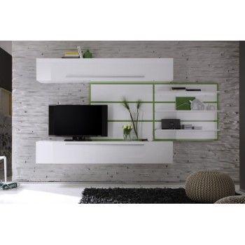 meuble tv mural vgtal laqu blanc et vert - Meuble Tv Living Blanc Laque For You