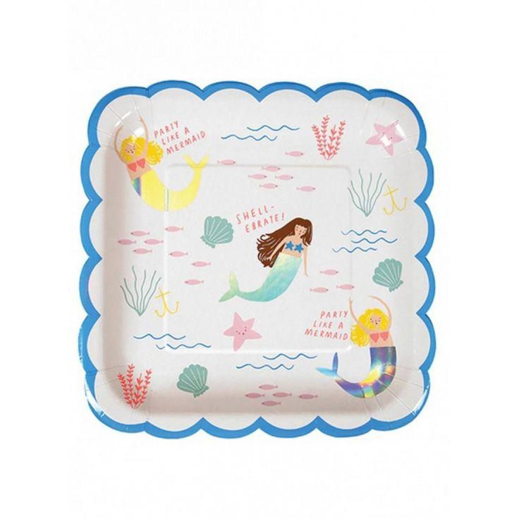 Meri Meri Χάρτινο Πιάτο για παιδικό Πάρτυ - Γοργόνες