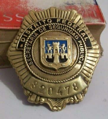 Vintage Mexican Police Obsolete Brass Badge Used New For