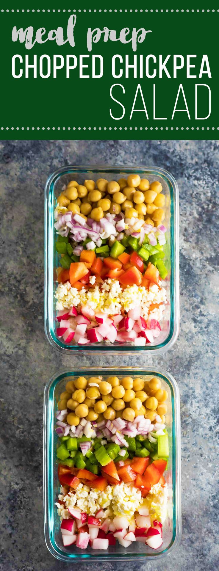 This meal prep chopped chickpea salad can be made on the weekend and enjoyed throughout the week!  Store them in meal prep containers, or as jar salads. (Vegan Recipes Meal Prep)