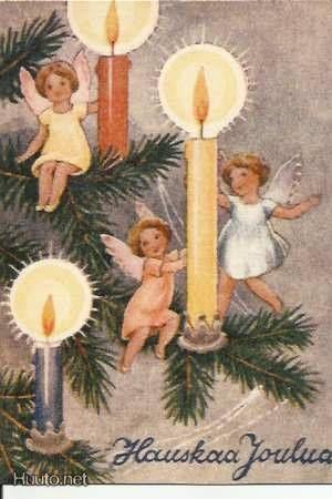 Beautiful Vintage Christmas Angels Card by Rudolf Koivu ~ Orange Details
