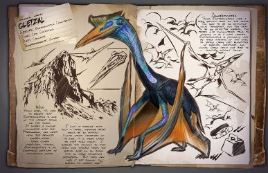 Quetzal Dossier  The Quetz is a workhorse. Tame them high enough and they can fend off most attacks. Build a platform on their back and turn them into a cargo plane! #ark #gaming #gamer #survival #evolved